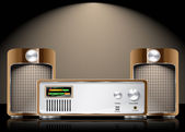 Vector retro hi fi conjunto con altavoces — Vector de stock