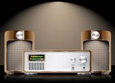 Vecteur rétro salut fi créé avec haut-parleurs — Vecteur