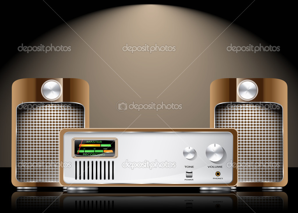 Retro Vector Hi Fi Set with Speakers  Stock Vector #7904606