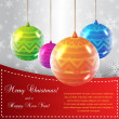Stock Vector: Christmas Card with Colorful Globes
