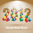 Happy New Year Background With Balloons — Stock Vector