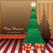 クリスマス カード イラスト ツリーと copyspace とお — ストックベクタ