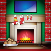 Home Interior with Fireplace Socks and Blank board on Wall — Stock Vector