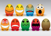 Set di emoticon colorate — Vettoriale Stock
