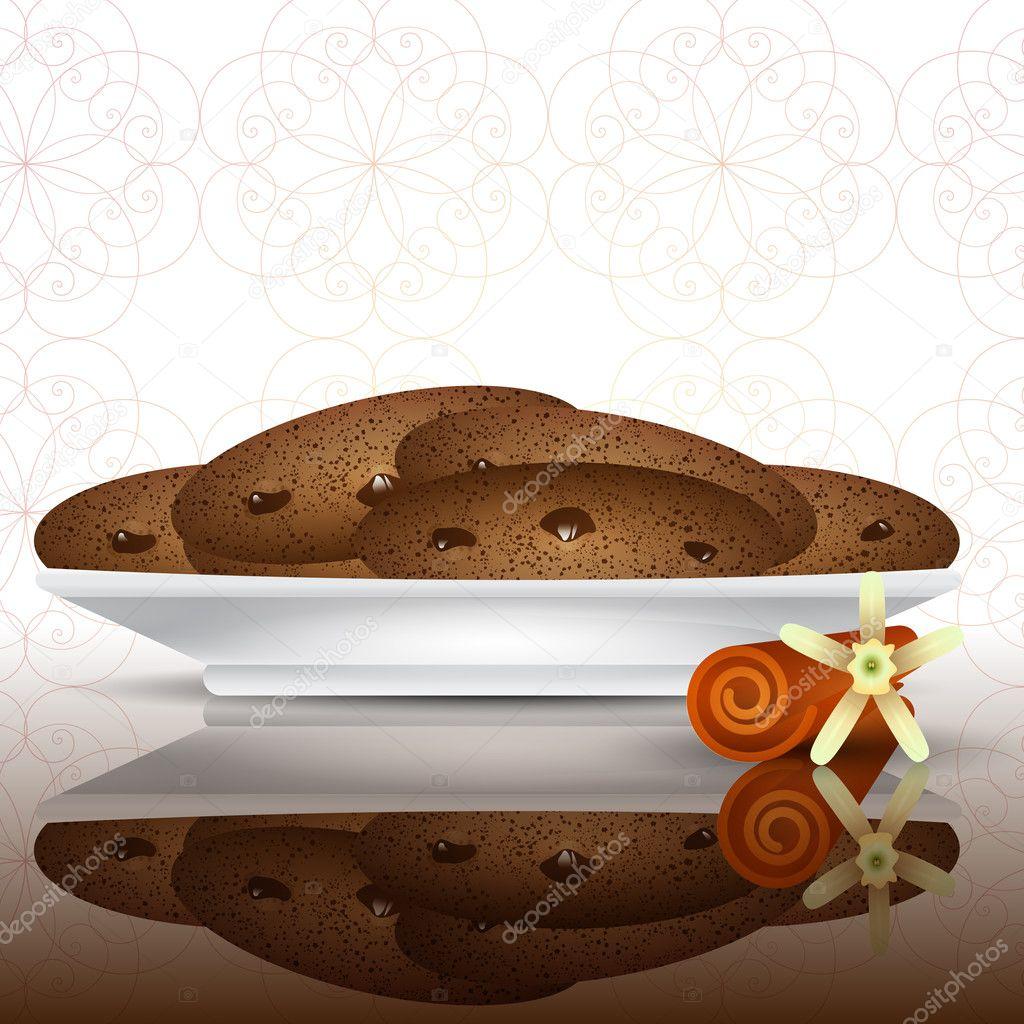 Vanilla Flower Illustration Of Cookies With