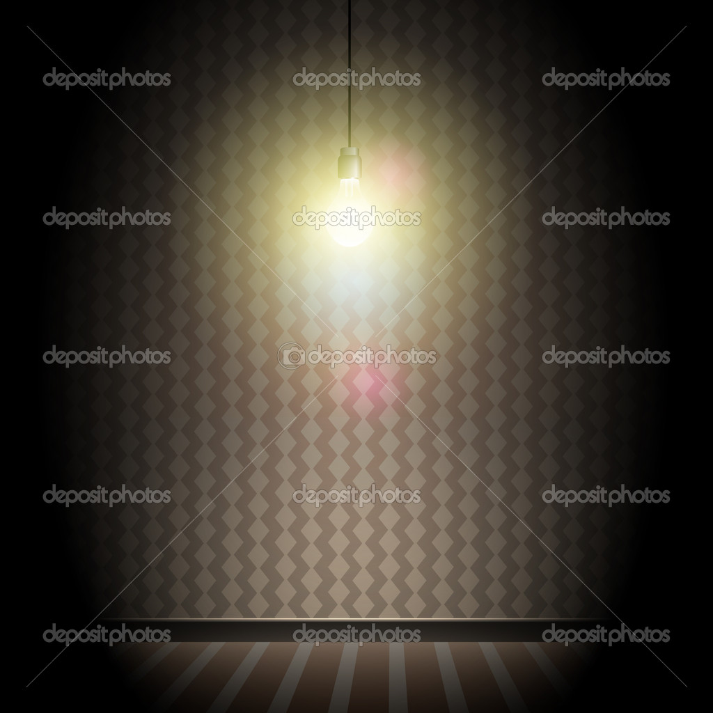 Dark room with light bulb - Vintage Dark Room With Bright Glowing Light Bulb Stock Vector 7915744
