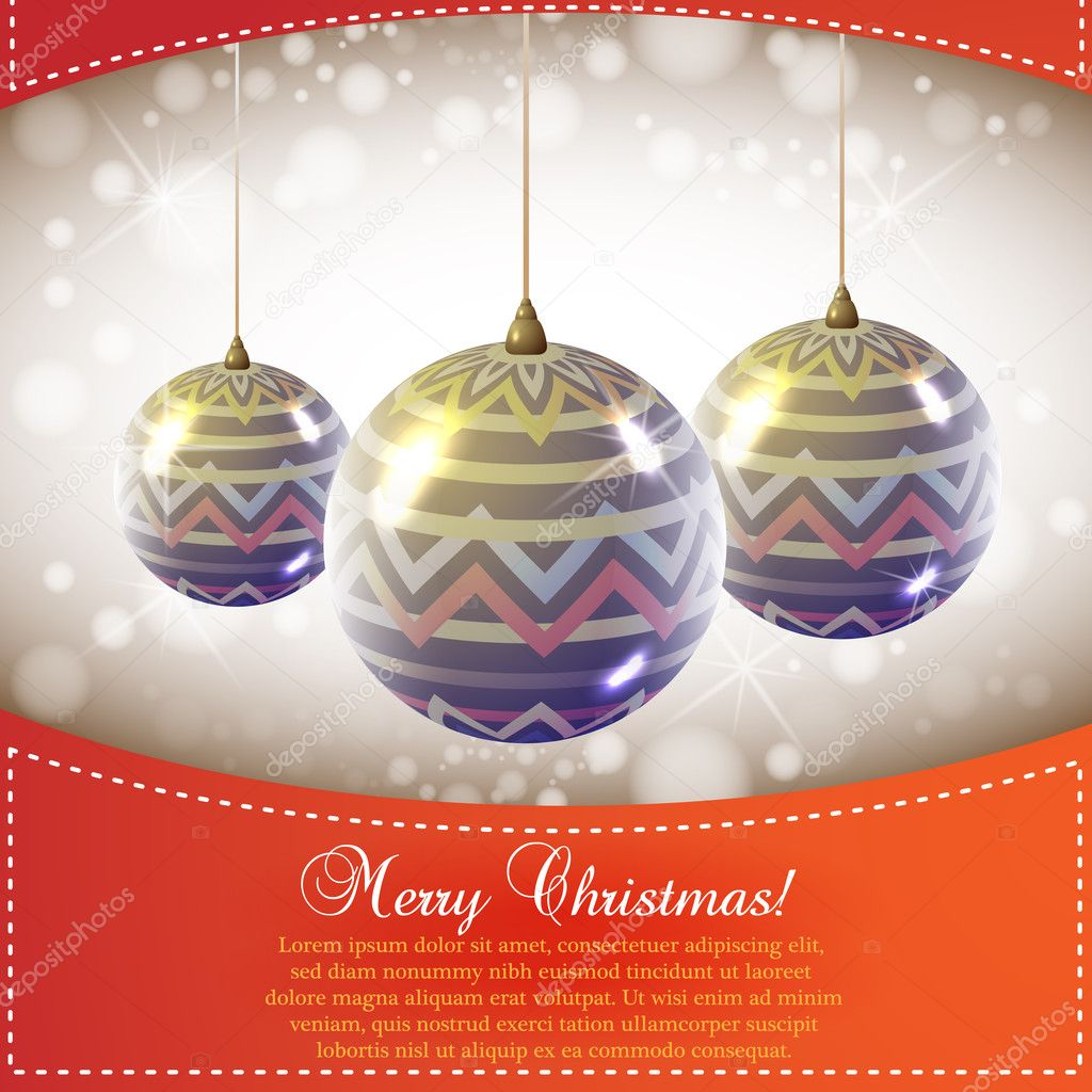 Christmas Card with Globes — Stock Vector #7915758