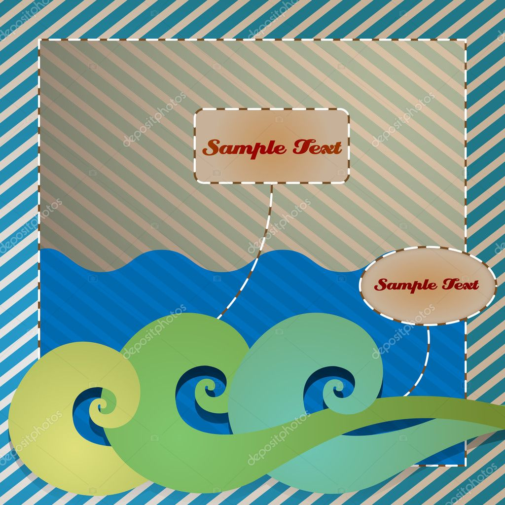 Beach Theme Card Stock: Vintage Beach Themed Greeting Card