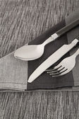 Cutlery and napkin — Stock Photo