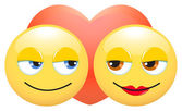 Smileys in love — Stock Vector