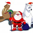 Santa and animals — Imagen vectorial