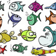 Cartoon fish set - Imagens vectoriais em stock