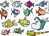 Cartoon fish set — Stock Vector