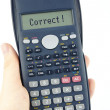 Correct answer on calculator — Stock Photo