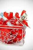 Wedding gift with money — Stock Photo