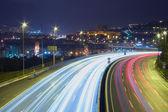 Trails of vehicles in Bilbao, Bizkaia, Spain — Stockfoto
