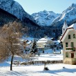 Tarasp Switzerland village in the winter - Stock Photo