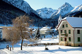 Tarasp Switzerland village in the winter — Stock Photo