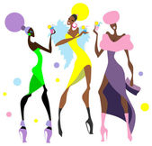 Cocktail party. Girls. — Stock Vector