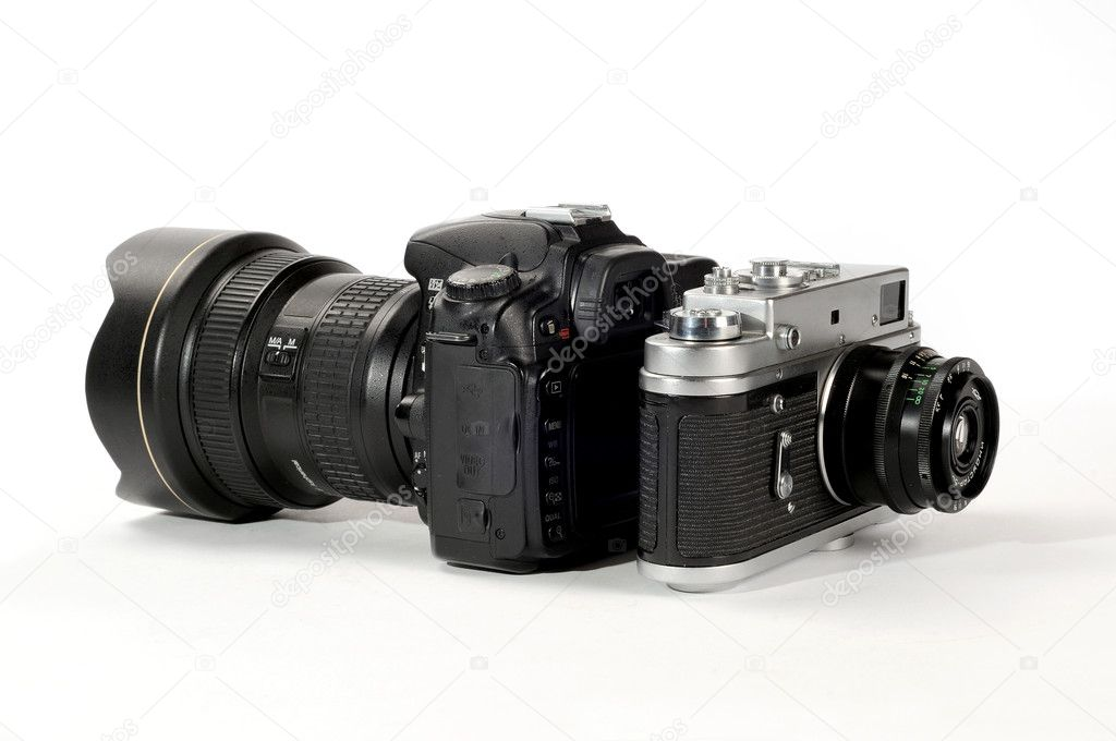 New camera vs old camera isolated on white, natural shadow — Stock Photo #7938581