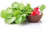 Juicy radish in ceramic plate — Stock Photo