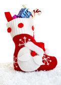 Christmas sock with present — Stock Photo