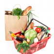 Stock Photo: Basket and bag with products