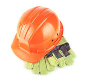 Hard hat with gloves — Stock Photo