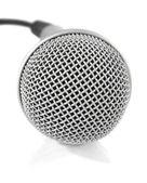 Gri metalik mikrofon kablosu ile — Stok fotoğraf