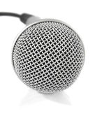 Gris metálico micrófono con cable — Foto de Stock
