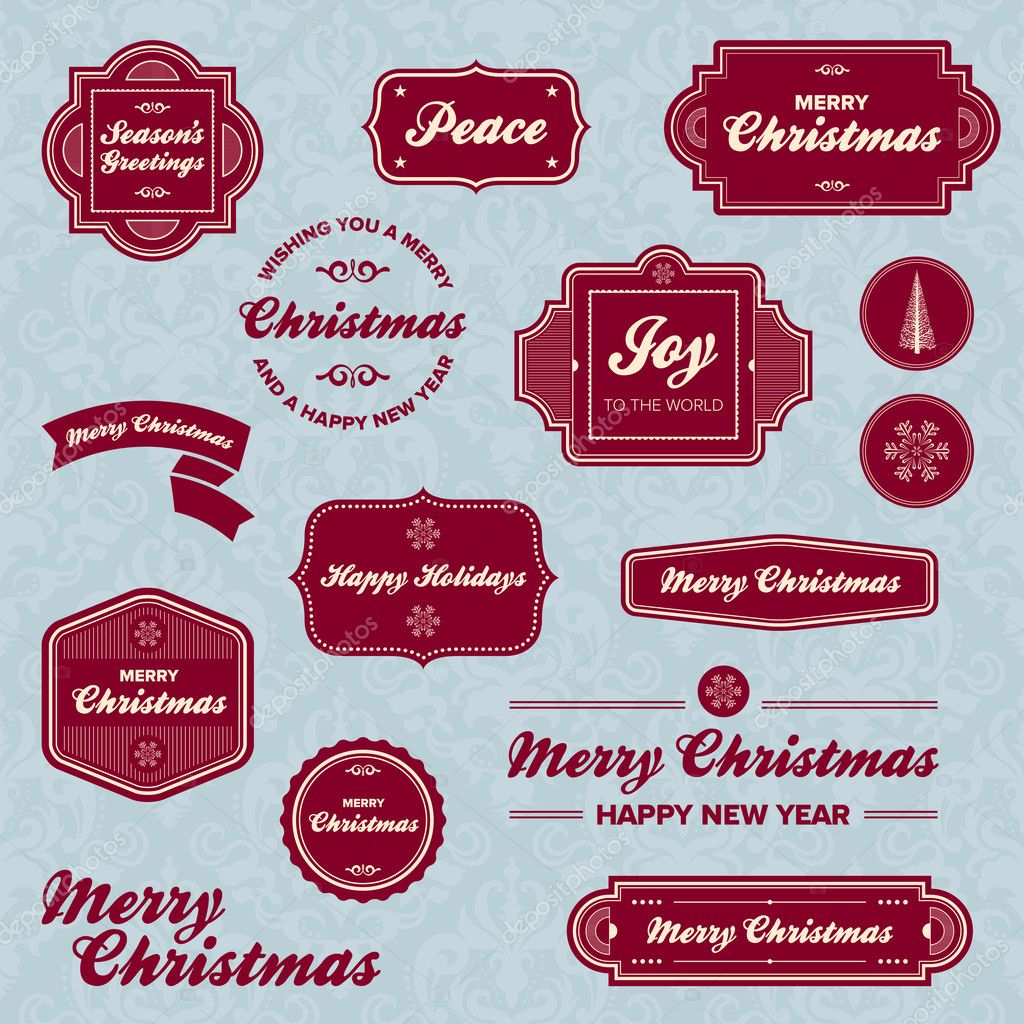 Set of vintage Christmas holiday labels and graphics  Stock Vector #7951499