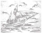 Yacht on the sea — Stock Vector