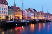 Este táj nyhavn-Koppenhágában, Dánia