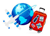 Airplane Travel with Suitcase and globe on white background Vector illustration