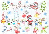 Disegni vettoriali - Babbo Natale e i bambini. pagina del taccuino di schizzo