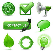8 Highly Detailed Icons for Website Green Series Vector Illustration