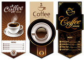 Three coffee design templates Vector banners All elements are grouped