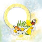 Schöne Postkarte mit Schmetterlingen und Blumen
