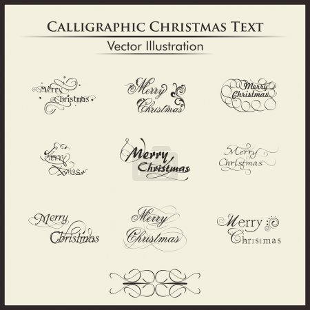 Постер, плакат: Typographic set of nine styles text for merry chirstmas , холст на подрамнике