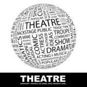 THEATRE Globe with different association terms Wordcloud vector illustration