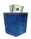 Zadní kapse modré džíny