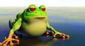 Kreslený žabák v reflexní rybník