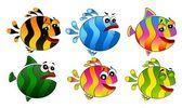 Sada malých barevných tropických ryb