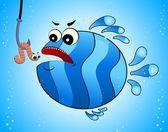 Little cartoon funny fish eats a worm