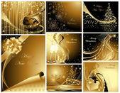 Gold Frohe Weihnachten und ein glückliches neues Jahr-Sammlung