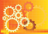 Vector orange gears background illustration