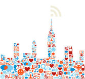 Social media icons set in cityscape shape