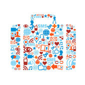Bag silhouette made with social media icons set
