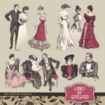 Ladies and gentlemen 19th century fashion