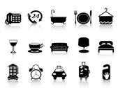 Isolated black hotel icons set on white background